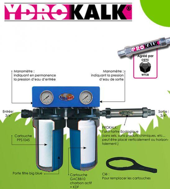L'Ydrokalk + Prokalk filtre l'eau de toute la maison et élimine le tartre sans électricité, ni produits chimiques