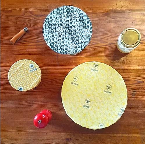 Film alimentaire réutilisable cire d'abeille pure - Cirophane - Le trio